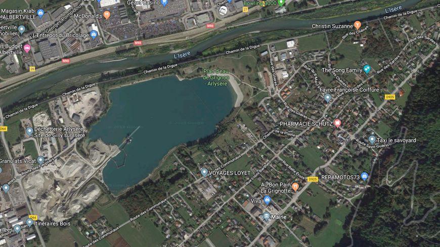 Capture écran google maps du plan d'eau de Grignon en Savoie
