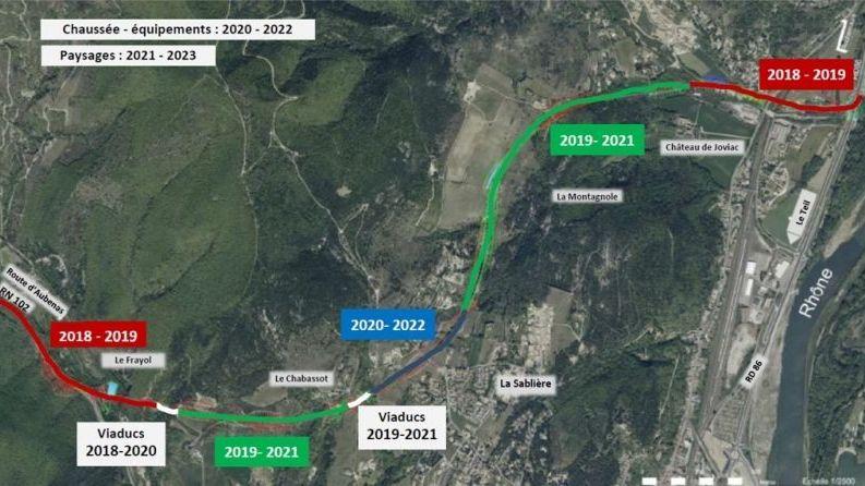 Plan des travaux de contournement du Teil