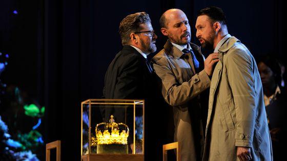 Peter Hoare, Stephane Degout et Gyula Orendt dans Love and Violence de George Benjamin, à Londres (2018)