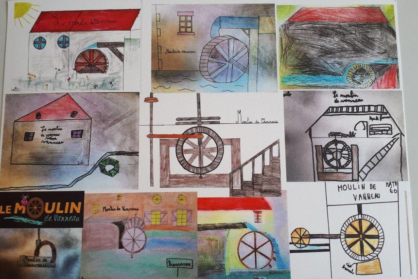 Les enfants ont réalisés de nombreux dessins du moulin et de son mécanisme.