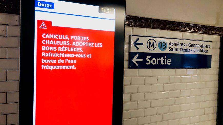 La RATP diffuse régulièrement des messages de prévention pendant les périodes de canicule