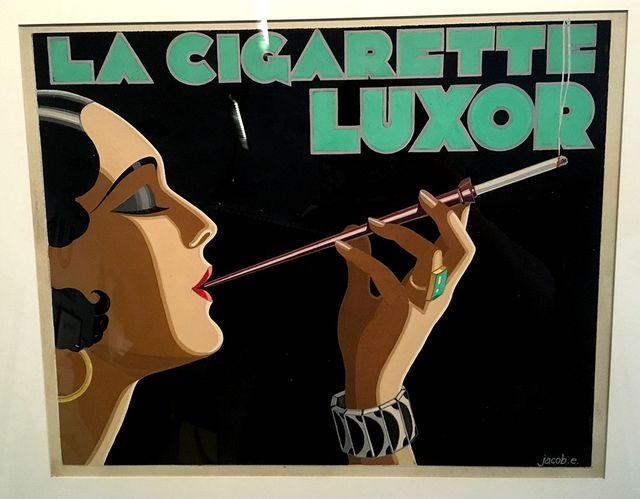 Edgar P. Jacobs a commencé comme dessinateur publicitaire. Ici, un exemple présenté dans l'exposition Scientifiction au Musée des Arts et Métiers