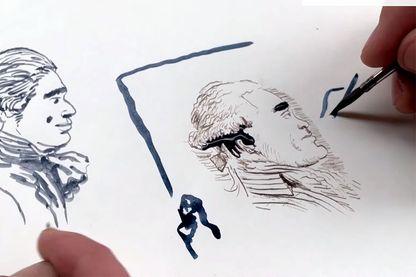 """Capture d'écran de la vidéo : Comment dessiner """"Révolution"""" ? La leçon de dessin de Florent Grouazel et Younn Locard"""
