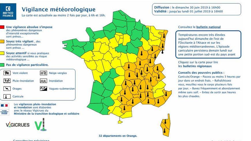 carte de vigilance orange Canicule : les quatre départements auvergnats restent en vigilance