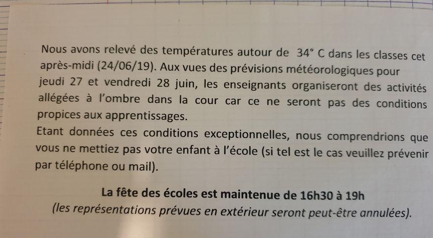 """Le """"petit mot"""" communiqué aux parents de Sainte-Feyre"""