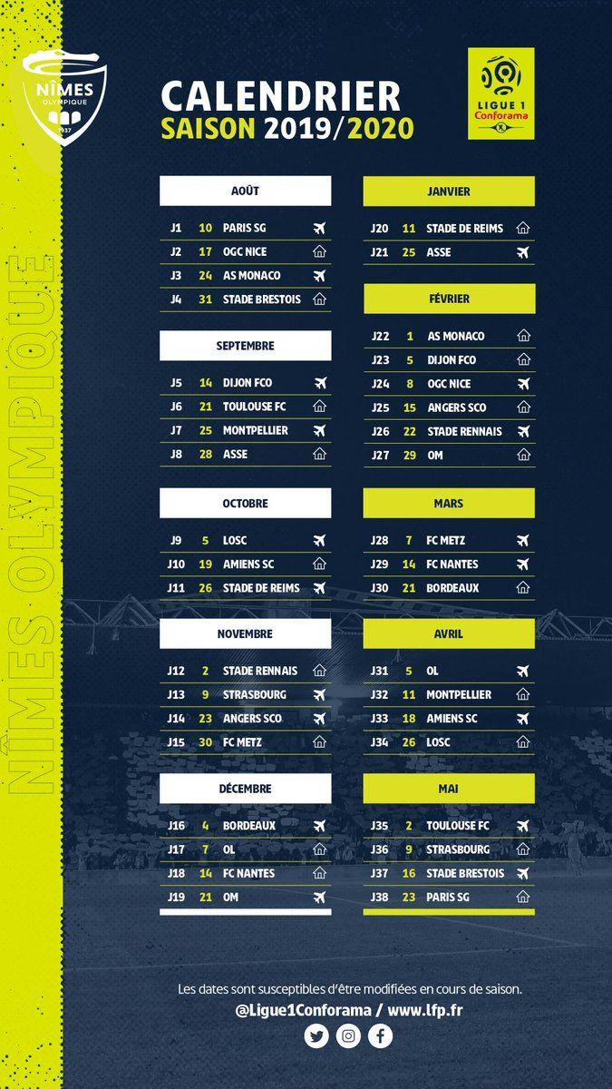 Calendrier Nimes Olympique 2021 Ligue 1 : le calendrier du Nîmes Olympique pour la saison 2019