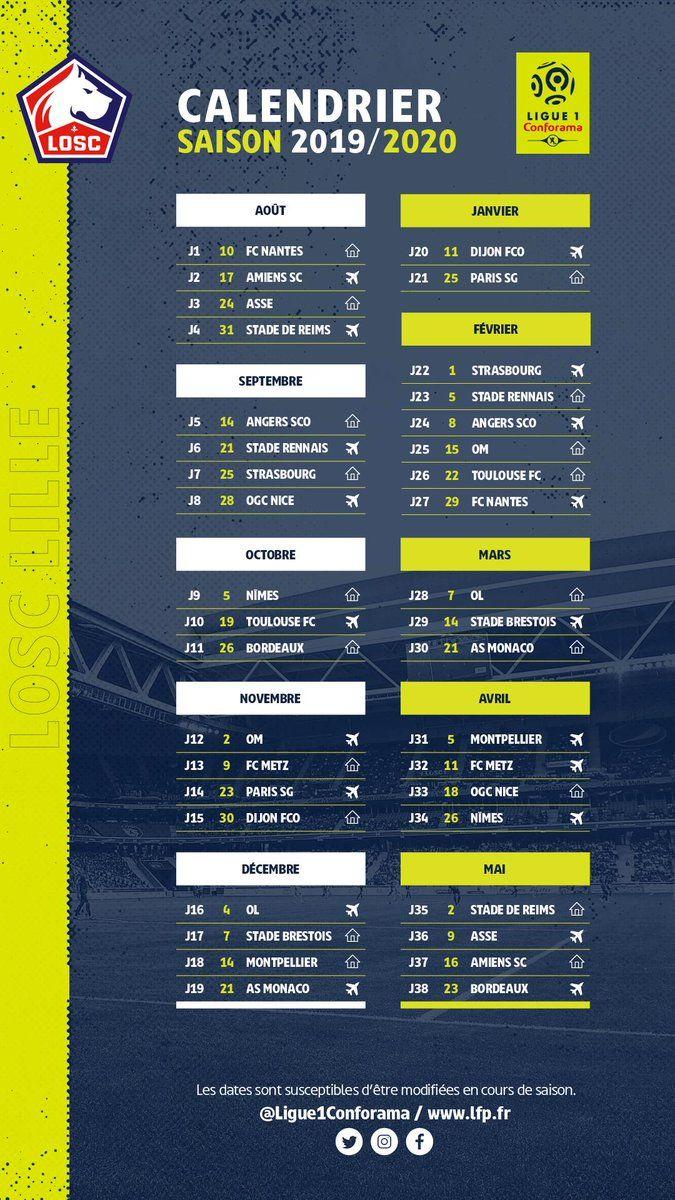 Calendrier Ligue 1 Losc.Ligue 1 Le Calendrier Du Losc Pour La Saison 2019 2020