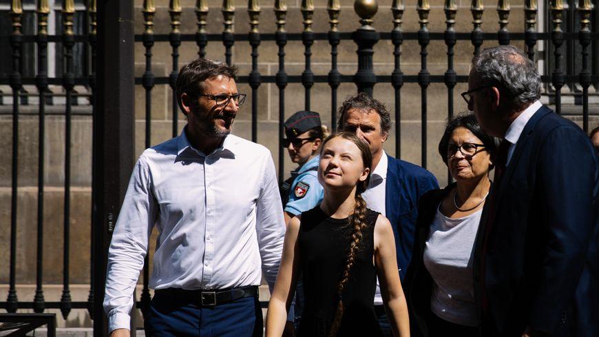 Greta Thunberg avec Matthieu Orphelin et Richard Ferrand à l'Assemblée nationale