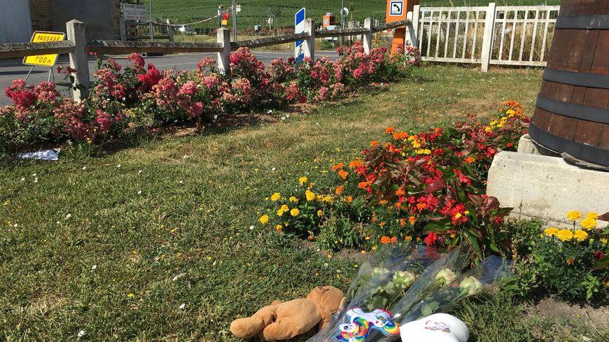 Un couple est venu déposer des fleurs et des peluches au passage à niveau d'Avenay-Val-d'Or (Marne), le 16 juillet 2019, au lendemain de la collision entre un train et une voiture.