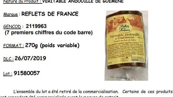 """Le groupe Carrefour rappelle la """"Véritable andouille de Guémené"""" de la marque """"Reflet de France""""."""