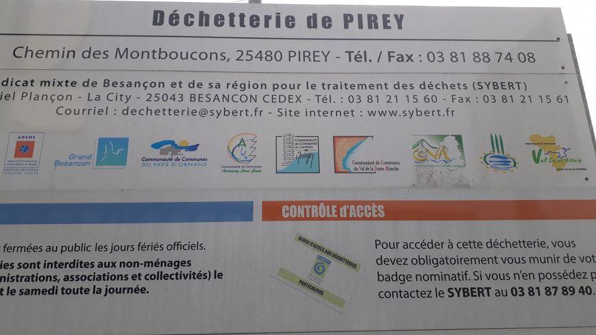 La déchetterie de Pirey est concernée par cette mesure.