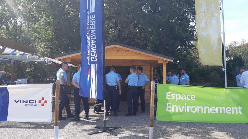 Le chalet de la gendarmerie sur l'aire de repos de Montélimar (Drôme) sur l'autoroute A7