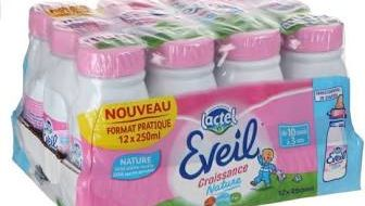 """Lactalis rappelle des bouteilles de lait """"Éveil croissance"""" pour un risque de moisissure autour du goulot"""