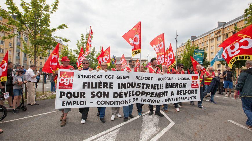 Manifestation de soutien aux salariés de General Electric à Belfort le 22 juin 2019