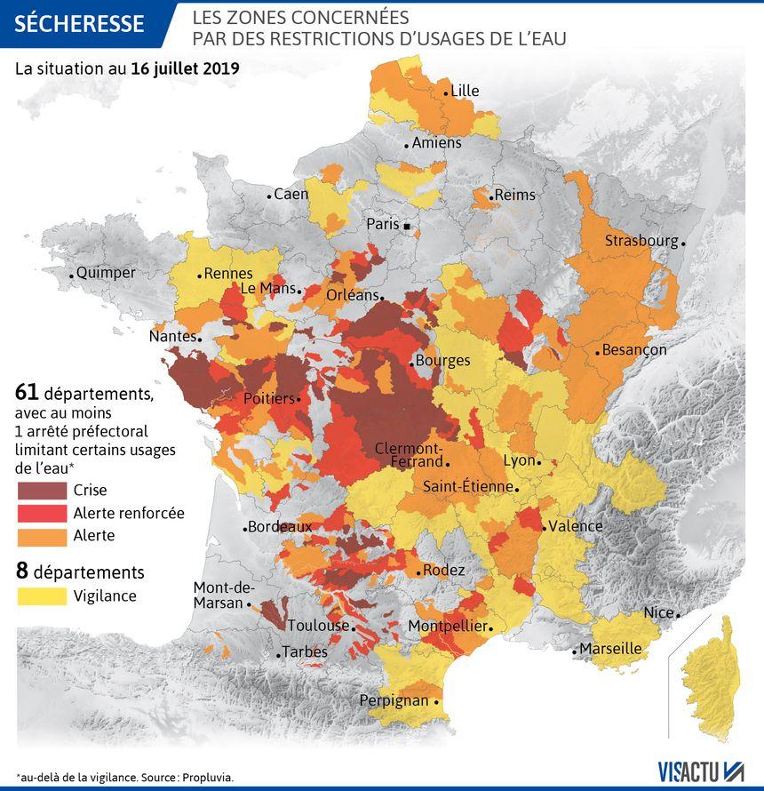 Les Vosges font parties des zones concernées par les restrictions d'eau au 16 juillet 2019