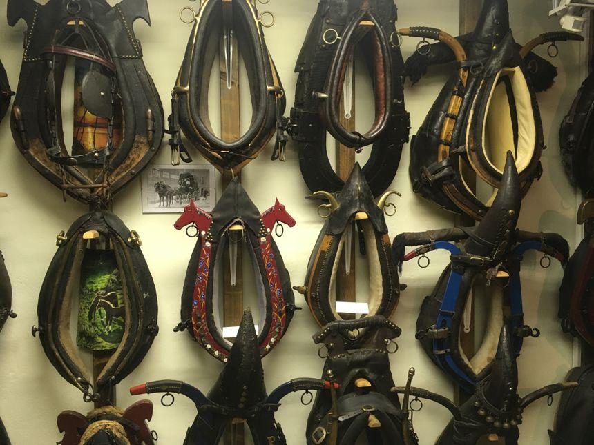 Quelques-uns des 200 colliers pour chevaux que vous pouvez admirer au musée des outils de nos ancêtres.
