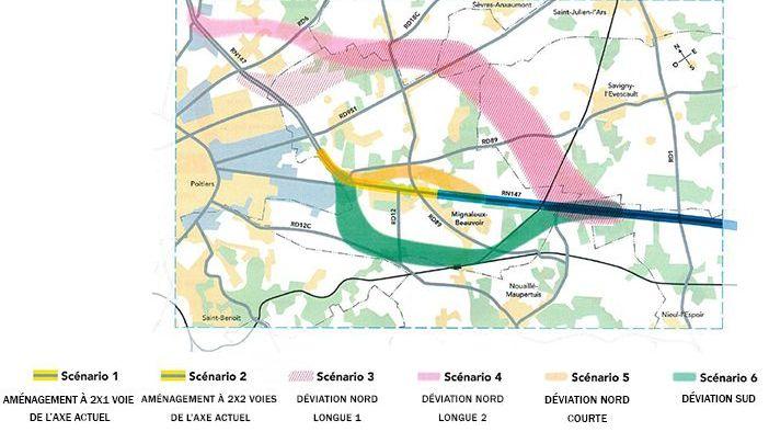 Voilà les différents tracés proposés par la DREAL pour la sortie sud-est de Poitiers