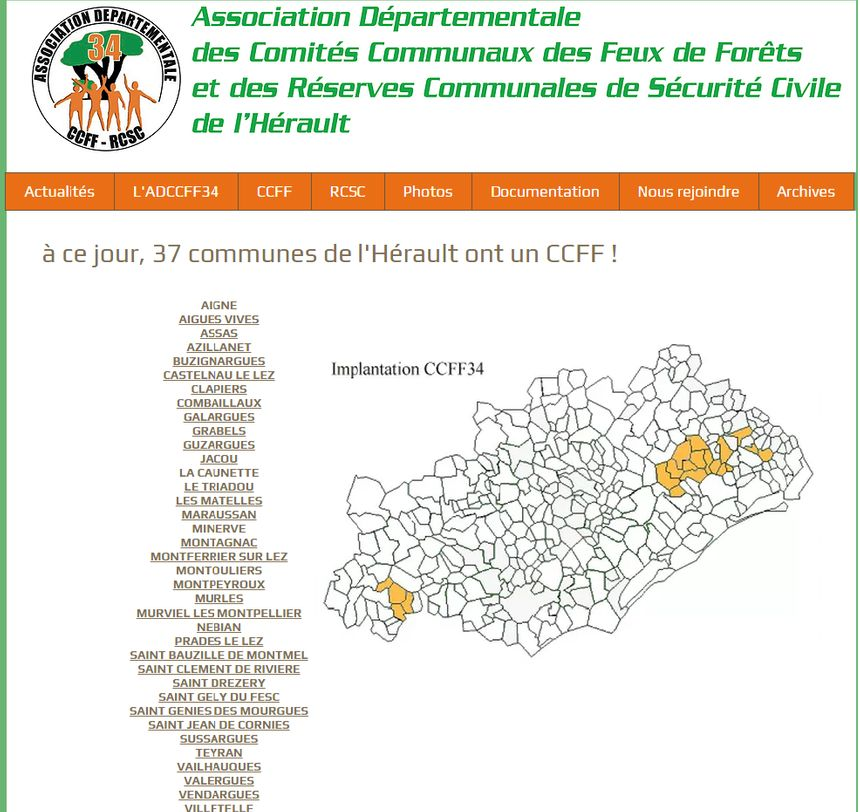 L'association départementale des Comités Communaux des feux de Forêts est implantée dans 37 communes de l'Hérault