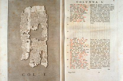 Reproduction du papyrus d'Herculanum de Philodeme de Gadara (110-40 avant JC) provenant d'Herculanum, 1793 - Bologne, civico museo