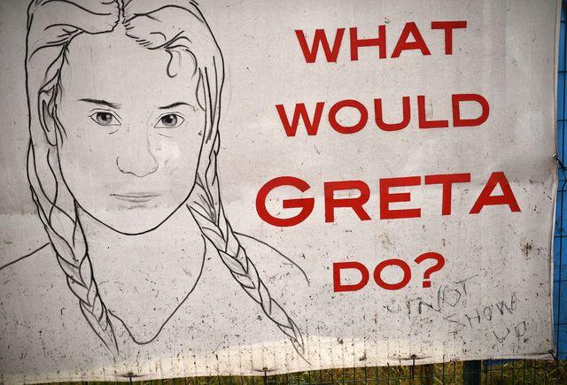 Un poster représentant Greta Thunberg au Glastonbury Festival, en Angleterre, le 26 juin 2019
