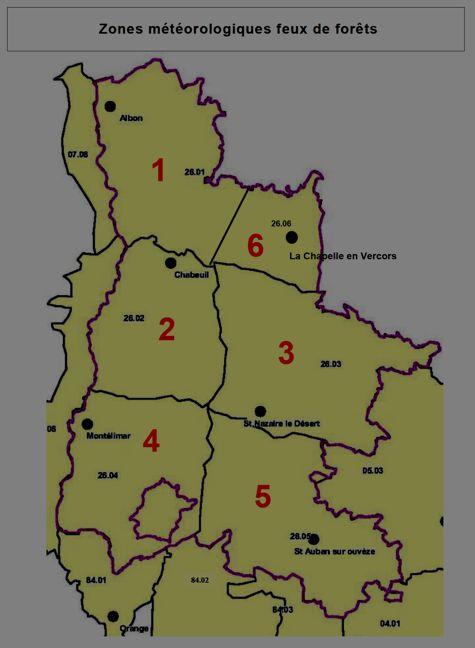 Zones météorologiques feux de forêts dans la Drôme.