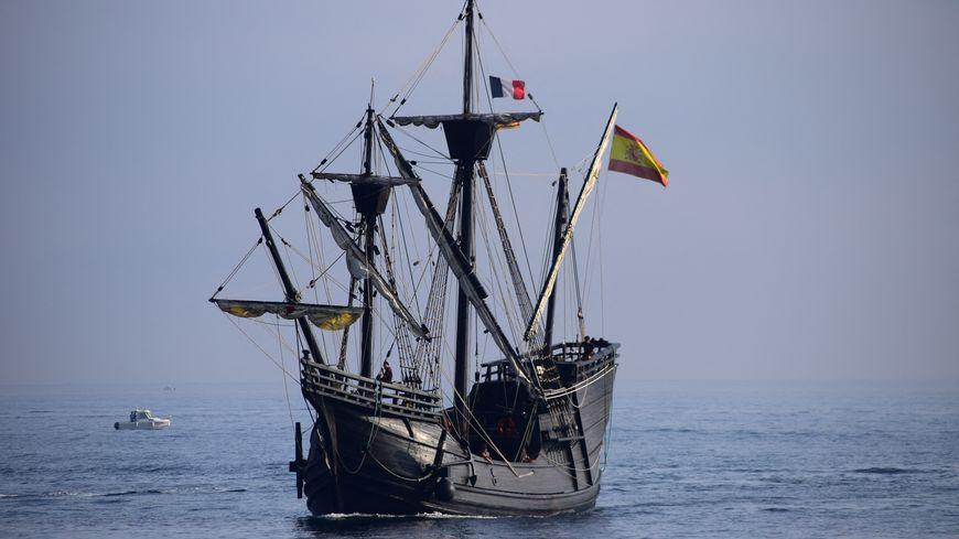 Le Nao Victoria au large de Port-Vendres ce mercredi matin