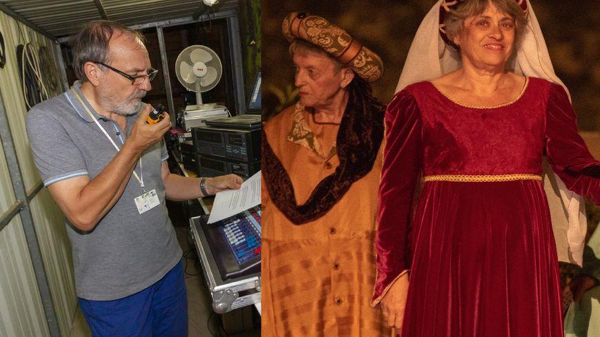 Maurice à la régie son et Suzanne en costume