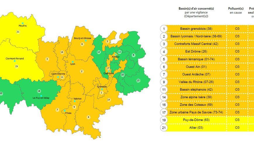 Capture d'écran Atmo Auvergne Rhône-Alpes