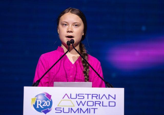 Fin mai, Greta Thunberg a prononcé un discours lors de la cérémonie d'ouverture du Sommet mondial autrichien R20 Regions of Climate Action à Vienne, en Autriche.
