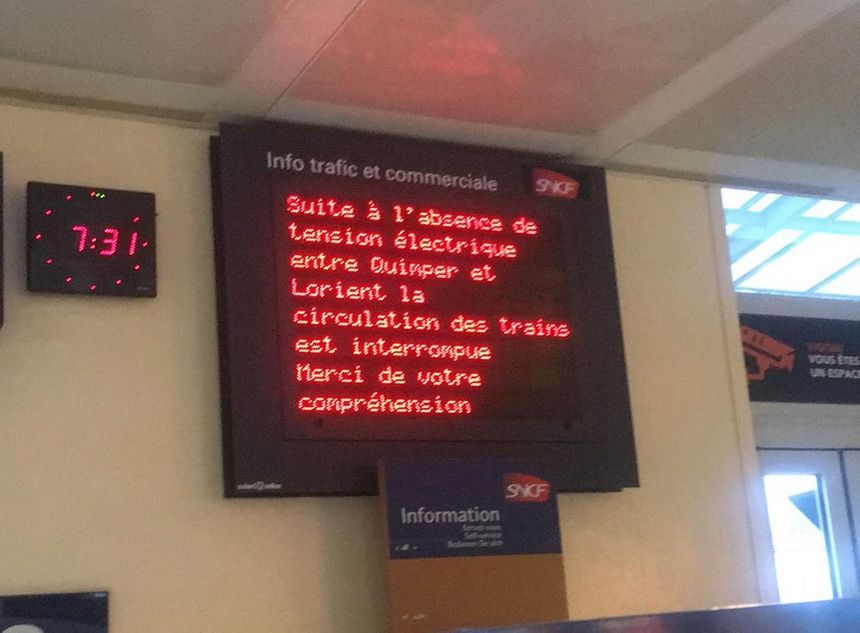 Circulation coupée en gare de Quimper