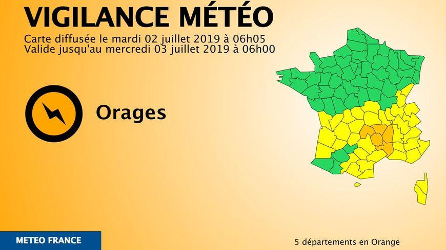 La carte de Météo France pour ce mardi 2 juillet