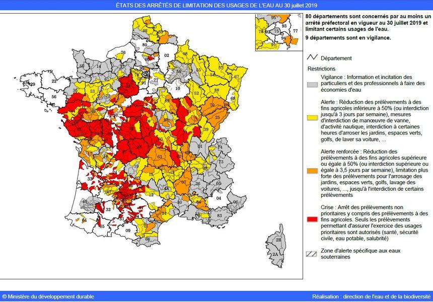 80 départements sont en alerte sécheresse c'est à dire concernés par des mesures de restrictions d'eau.