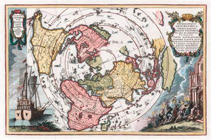Carte montrant la trace du voyage de Magellan autour du monde par Heinrich Scherer.