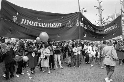 Manifestation de femmes à l'appel du MLF lors de la journée de la Femme à Paris le 8 mars 1982