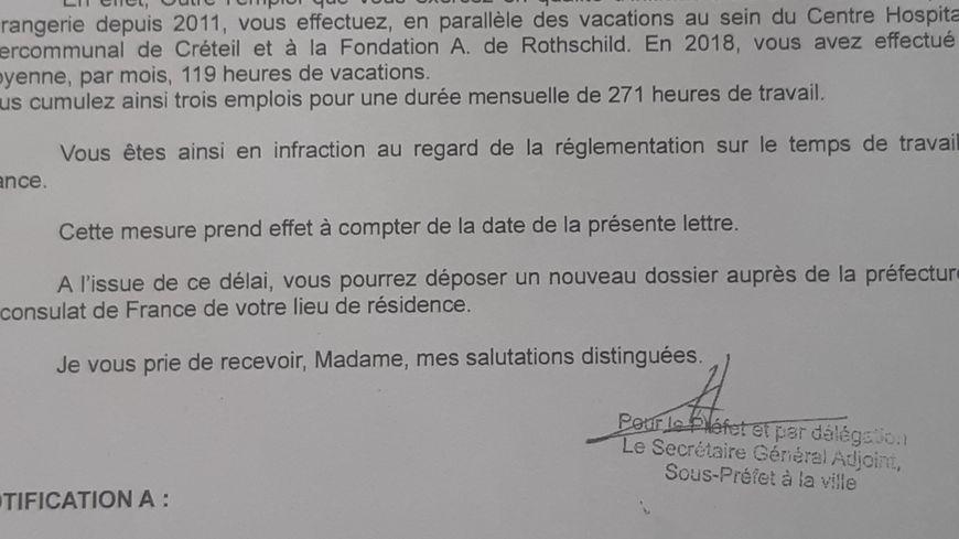 La lettre envoyée par la Préfecture du Val-de-Marne
