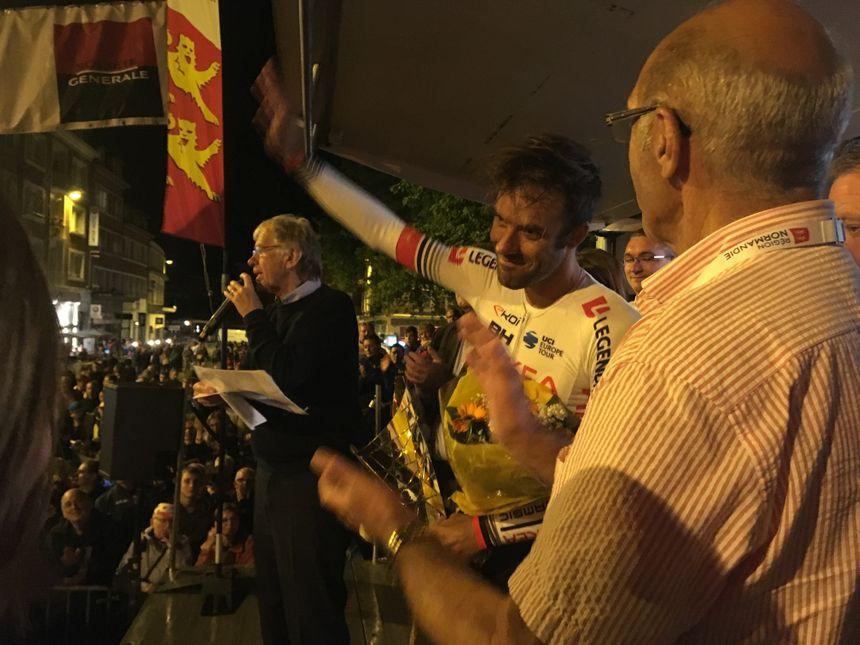 Le Cherbourgeois Amaël Moinard qui a terminé 3e du Critérium de Lisieux, ce mardi 30 juillet. Sa carrière s'arrêtera à la fin de la saison.