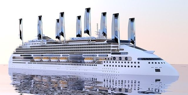 Des voiles solaires alimenteraient le bateau en électricité.