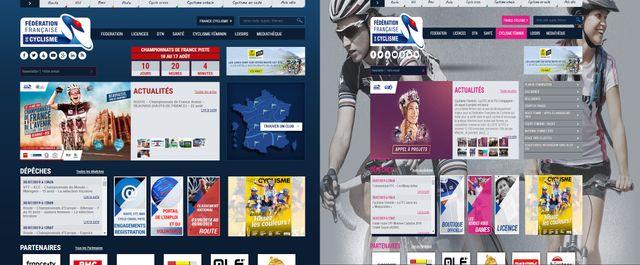 """Capture d'écran du site de la Fédération française de cyclisme, comparaison de la page d'accueil et de l'onglet """"cyclisme féminin"""""""