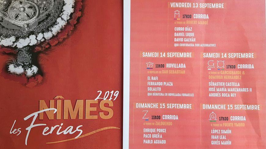 Composition des cartels de la feria des Vendanges, mi-septembre, à Nîmes