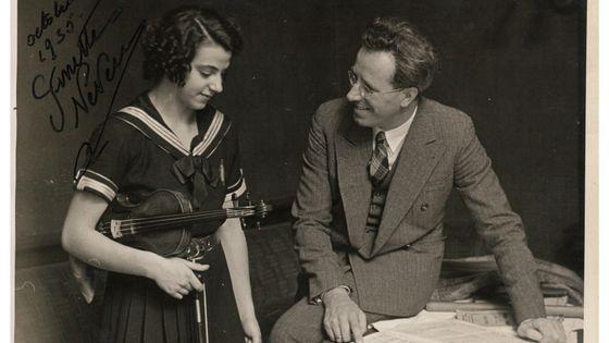Ginette Neveu et le chef d'orchestre Eugen Jochum en octobre 1935