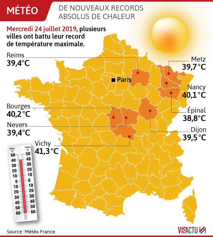 De nouveaux records absolus de chaleur mercredi 24 juillet
