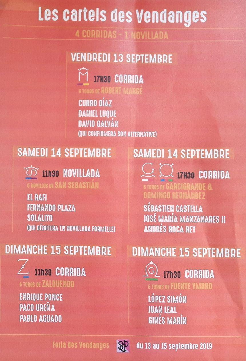 les cartels de la feria des Vendanges 2019 à Nîmes