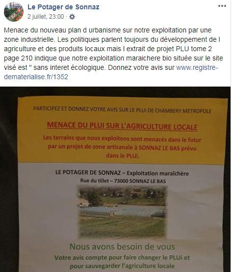 La page Facebook du Potager de Sonnaz