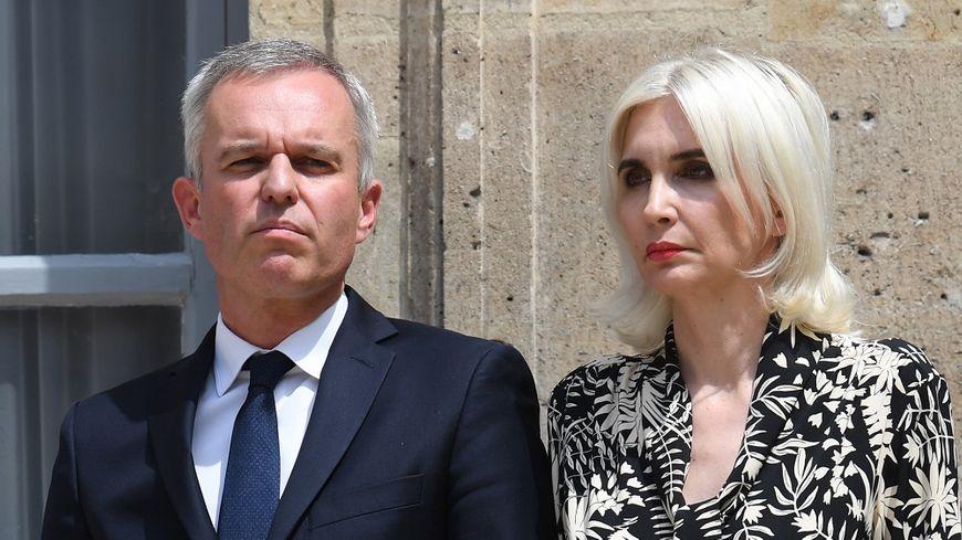 François de Rugy et son épouse, lors de la passation de pouvoir à son ministère le 16 juillet dernier.