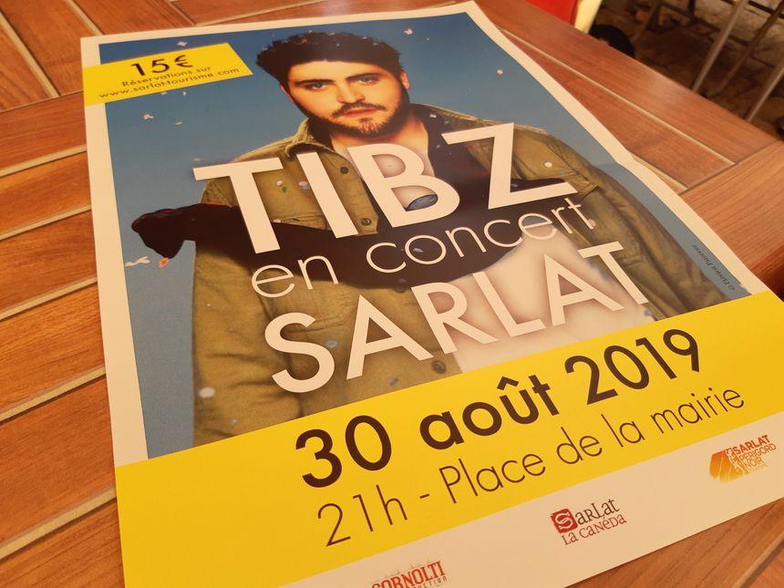 L'affiche du concert de Tibz à Sarlat