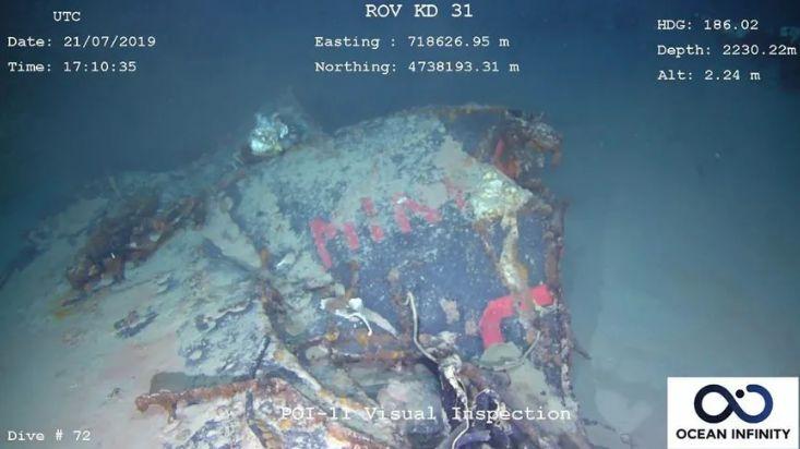 L'épave de La Minerve gisant à plus de 2000 mètres de profondeur au large de Toulon.