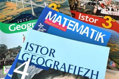 Des manuels scolaires sont exposés à l'école bretonne Diwan le 4 juillet 2018 à Le Relecq-Kerhuon, dans l'ouest de la France.