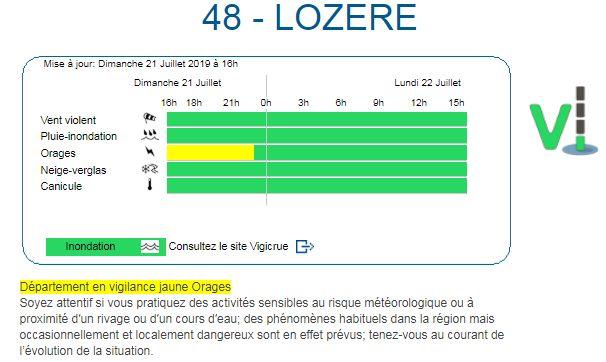 La Lozère est placée en vigilance jaunes aux orages. Capture d'écran du site de Météo France.