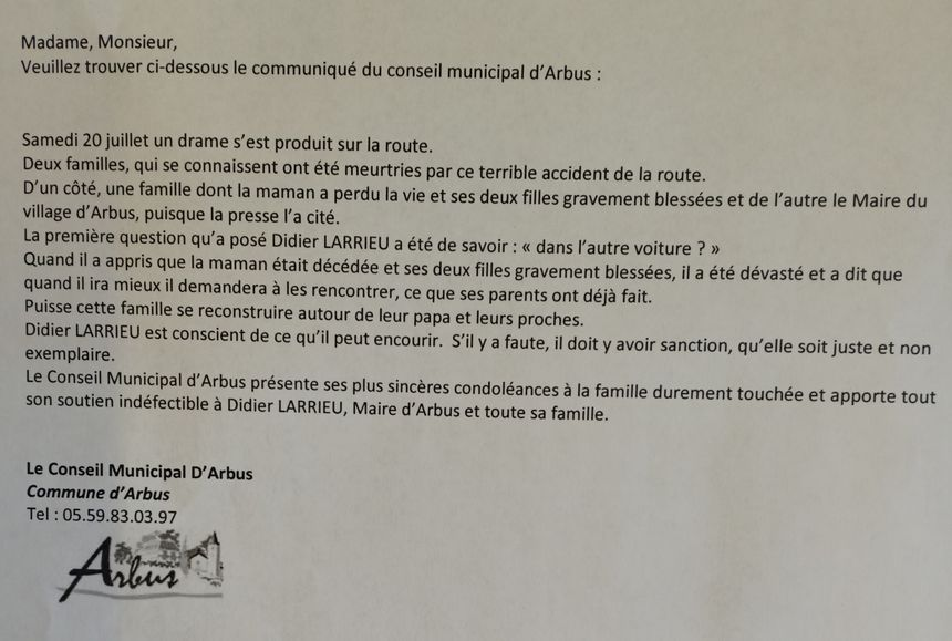 Le communiqué du conseil municipal d'Arbus