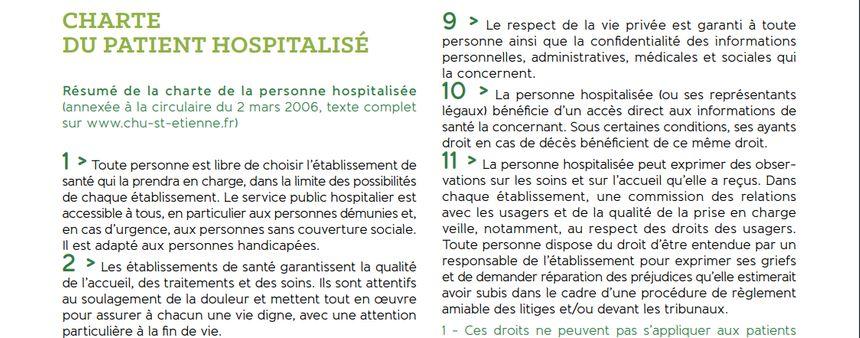 Capture d'écran extrait de la charte du patient du CHU de Saint-Étienne